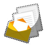 Sticker color silhouette with envelope mail and documents sheets. Vector illustration Stock Photography