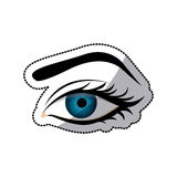 Sticker color silhouette with female eye and eyebrow Royalty Free Stock Photography