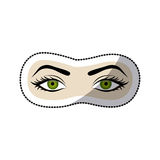 Sticker color silhouette with female eyes open and eyebrow Royalty Free Stock Image
