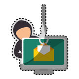 Sticker color silhouette with hacker stealing mail information Royalty Free Stock Photo