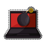 Sticker color silhouette of laptop computer with virus bomb on screen Royalty Free Stock Photo