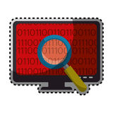 Sticker color silhouette of lcd monitor and virus scanning. Vector illustration Stock Photos