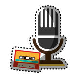 Sticker color silhouette with microphone and tape cassette Stock Image