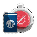 Sticker color silhouette with passport and chronometer Stock Photo
