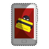 Sticker color silhouette with stealing credit card in cell phone Royalty Free Stock Photo