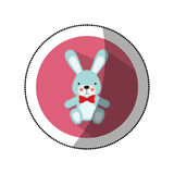 Sticker color silhouette with Stuffed rabbit in round frame Stock Image