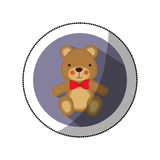 sticker color silhouette with teddy bear in round frame Stock Images
