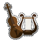 Sticker color silhouette with violin and harp. Vector illustration Stock Photos