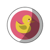 sticker color silhouette with yellow duck bath in round frame Stock Photo