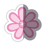sticker color sketch with pink flower Royalty Free Stock Photos