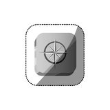 sticker color square button 3d with compass rose Stock Images
