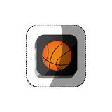 Sticker color square 3d button with basketball ball Stock Photography