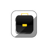 Sticker color square 3d button with briefcase. Illustration Stock Photos