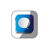 Sticker color square 3d button with dialog box. Illustration Royalty Free Stock Photos