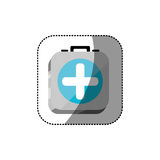 Sticker color square 3d button with first aid kit. Illustration Stock Image