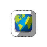 sticker color square 3d button with map continents Royalty Free Stock Photography
