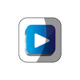 Sticker color square 3d button with play button. Illustration Royalty Free Stock Photography