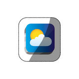 Sticker color square 3d button with realistic cloud and sun Stock Photography