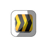 Sticker color square 3d button with road traffic barrier. Illustration Stock Images