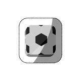 Sticker color square 3d button with soccer shape ball Royalty Free Stock Photography