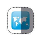 sticker color square frame with world map Royalty Free Stock Photos