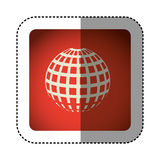 sticker color square with globe earth icon Stock Photos
