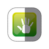 Sticker color square with handprint icon Stock Image