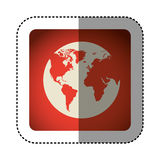 sticker color square with map of the world Royalty Free Stock Photography