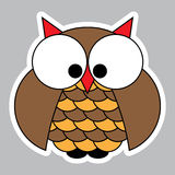 Sticker - colored cute owl with big squinting eyes Stock Photos