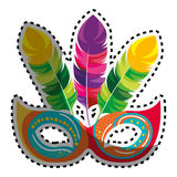 Sticker colored festive carnival mask icon design Royalty Free Stock Photos