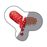 Sticker colored pill medical in capsule shape with dripping hearts Royalty Free Stock Image