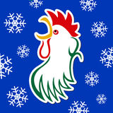 Sticker - colored styled rooster with snowflakes Royalty Free Stock Images