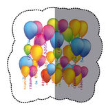 Sticker colorful background with flying balloons and serpentine. Illustration Royalty Free Stock Photography