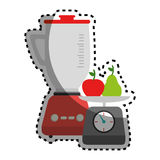 Sticker colorful blender with kitchen weight scale and fruits Royalty Free Stock Photo