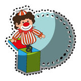 Sticker colorful border wit clown in cube toy Royalty Free Stock Photo