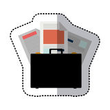 Sticker colorful briefcase and documents office Stock Photography