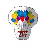 sticker colorful bunch balloons with happy day letters Stock Photo