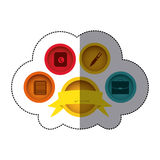 Sticker colorful button academic apps with emblem ribbon decorative. Illustration Royalty Free Stock Photography