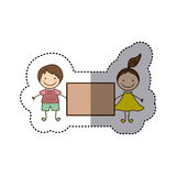 Sticker colorful caricature couple boy and girl with hair tail and banner Stock Photos