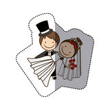 Sticker colorful caricature couple wedding icon Royalty Free Stock Image