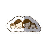Sticker colorful cartoon family faces Stock Photography