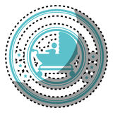 Sticker colorful circular border with black silhouette baby carriage with layette and baby Royalty Free Stock Photography