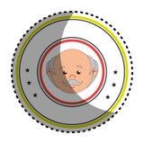 Sticker colorful circular border with front face elderly man Stock Photos