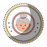 Sticker colorful circular border with front face elderly woman Royalty Free Stock Photo