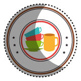 Sticker colorful circular border with stack of colorful coffee cups Stock Photos