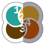 Sticker colorful circular figures with numeration. Illustration Stock Photos
