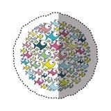 Sticker colorful circular pattern fish aquatic animal. Illustration Royalty Free Stock Photos