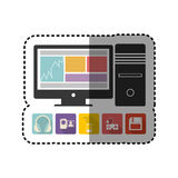 Sticker colorful desktop computer with icon apps Royalty Free Stock Photos