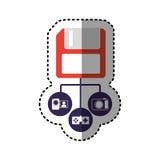 Sticker colorful diskette storage device icon stock. Illustration Stock Photo