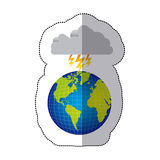 Sticker colorful earth world cloud with cloud with lightnings Royalty Free Stock Photography